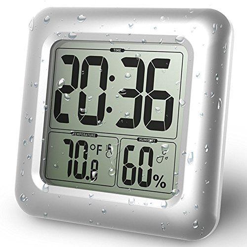 Honana Lt D1 Bathroom Shower Silica Wall Clock Waterproof Suction Cups Clock Home Kitchen Refrigerator Decor Hanging Clock