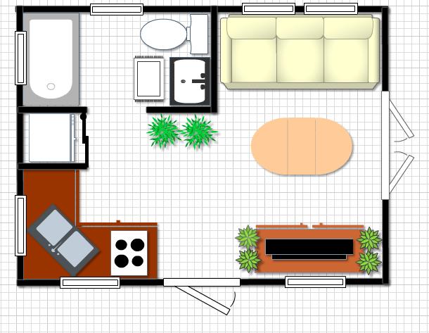 Tiny house plan 12x16 w mobile home size bathtub futon for 12x16 kitchen plans