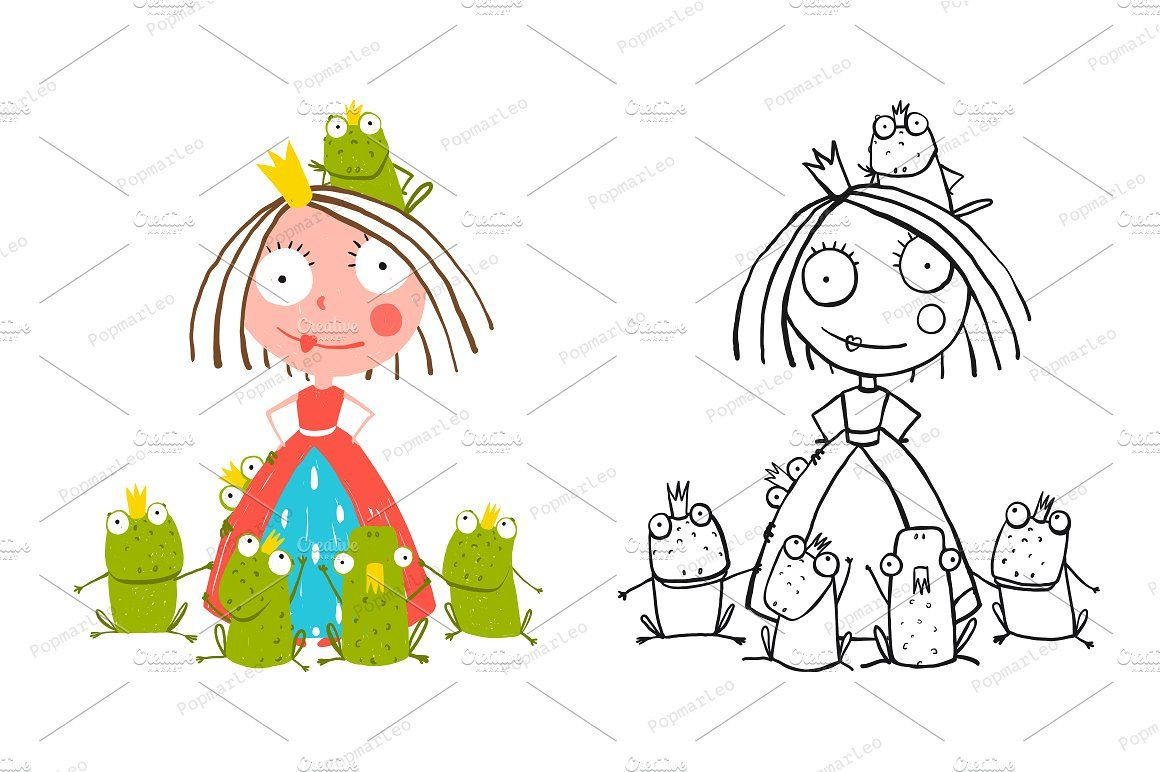 Princess and Prince Frogs Portrait by Popmarleo Shop on @creativemarket