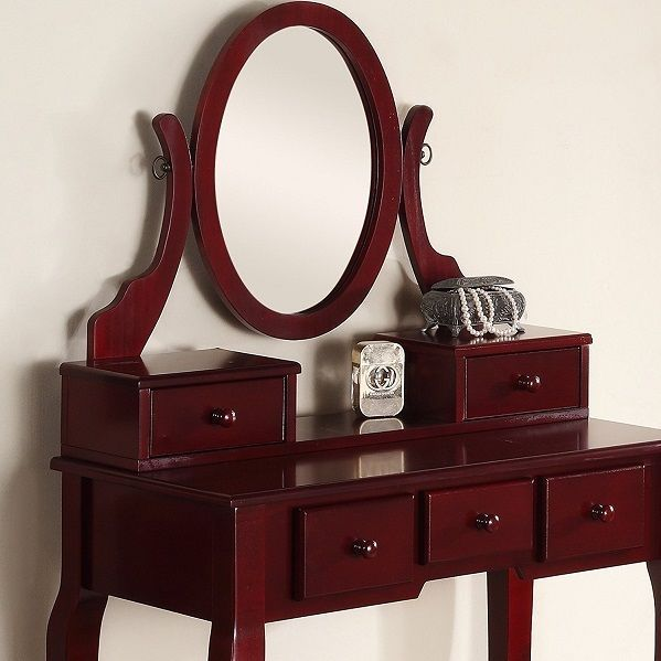 Bedroom Vanity Set Dressing Makeup Table Stool Drawers Swivel Mirror ...