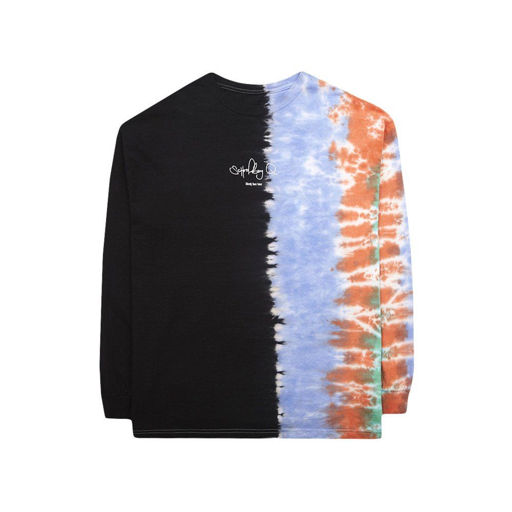 Long sleeve half tie-dye shirt with Schoolboy Q Blank Face tour print in  the front and b