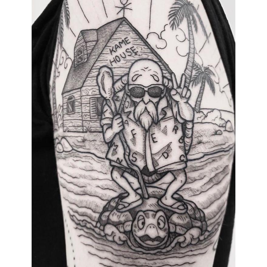 Master Roshi Dragon Ball Tattoo Dragon Ball Artwork Cartoon Tattoos