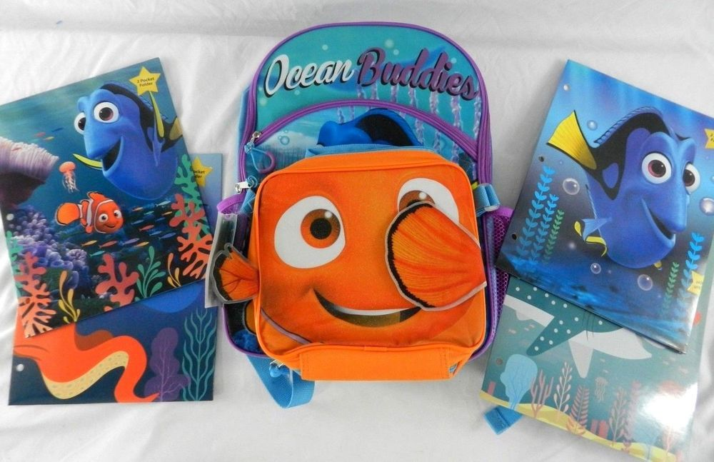 2df06fe7c1e New Disney Finding Dory Backpack Lunch Bag Combo Set w 4 Folders Nemo  Lunchbox  Disney