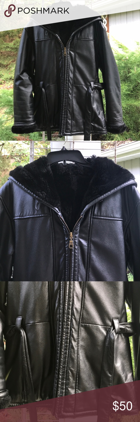 Wilsons Black Leather Coat with Hood and Belt Black