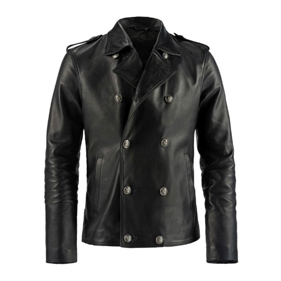 Buy Yuma Black Double Breasted Leather Jacket Bagywagy Leather Jacket Leather Jacket Men Mens Leather Shirt [ 900 x 900 Pixel ]