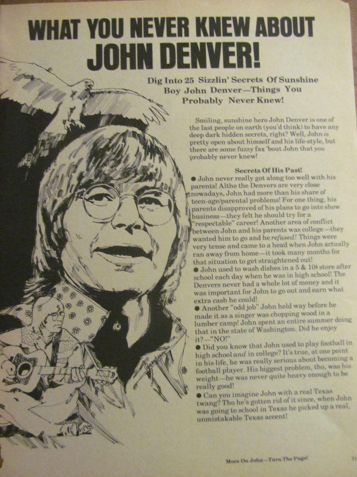 John denver grandma s feather bed sheet music - John Denver Full Page Vintage Clipping In Entertainment Memorabilia Music Memorabilia Rock Pop
