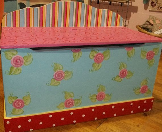 Toy Chest RED turquoise Hot Pink  roses Toy box. $139.95, via Etsy.