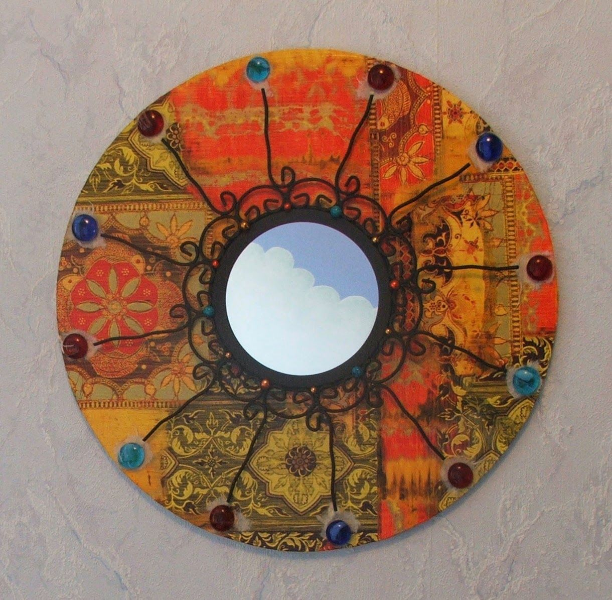 Cr ation miroir rond inspiration orientale inde fer forg for Miroir rond mosaique