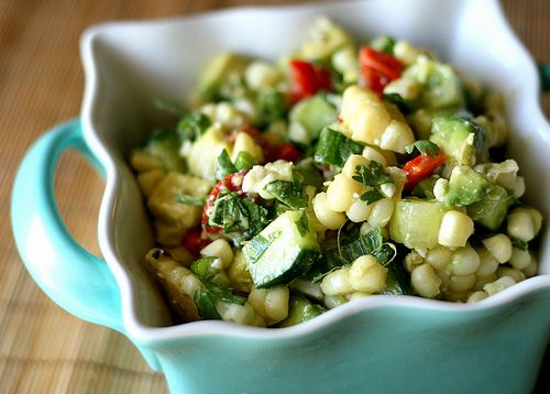 Grilled Corn Salad with Cucumber, Avocado, & Feta