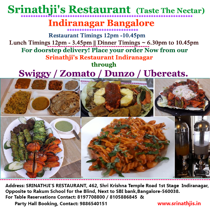Srinathji S Restaurant Taste The Nectar Indira Nagar Veg Restaurant Vegan Restaurants Near Me Food Blog
