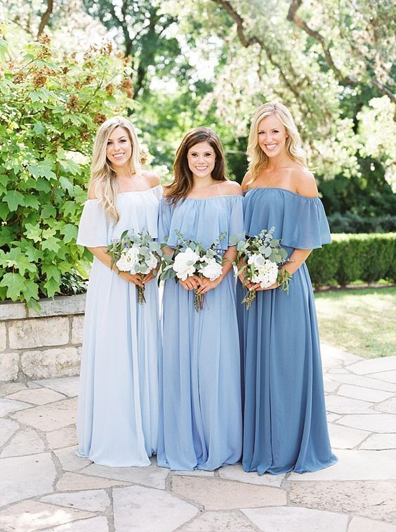 93678998ea6 Modern bridesmaid dresses mismatched mixed prints and fashionable Plum  pretty Revelry off the shoulder separates