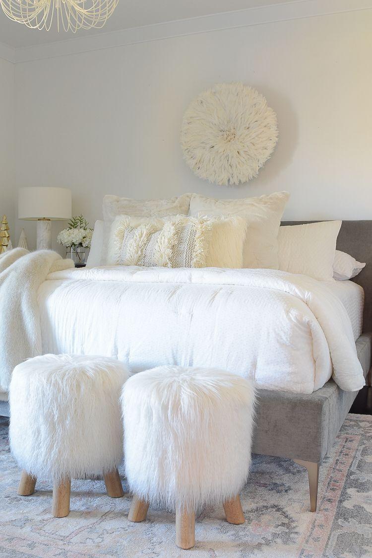 Boho Chic, Neutral Christmas Bedroom Tour | Bedroom decor ... on Boho Bedroom Ideas On A Budget  id=66962