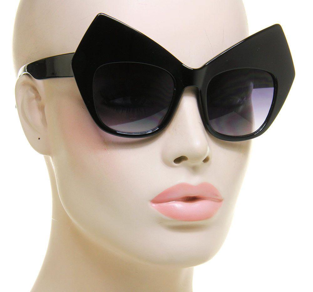 Big Black Cat Eye Sunglasses Vintage Retro Womens Fashion Huge Oversized   Unbranded  Square 0f4f9b4a9