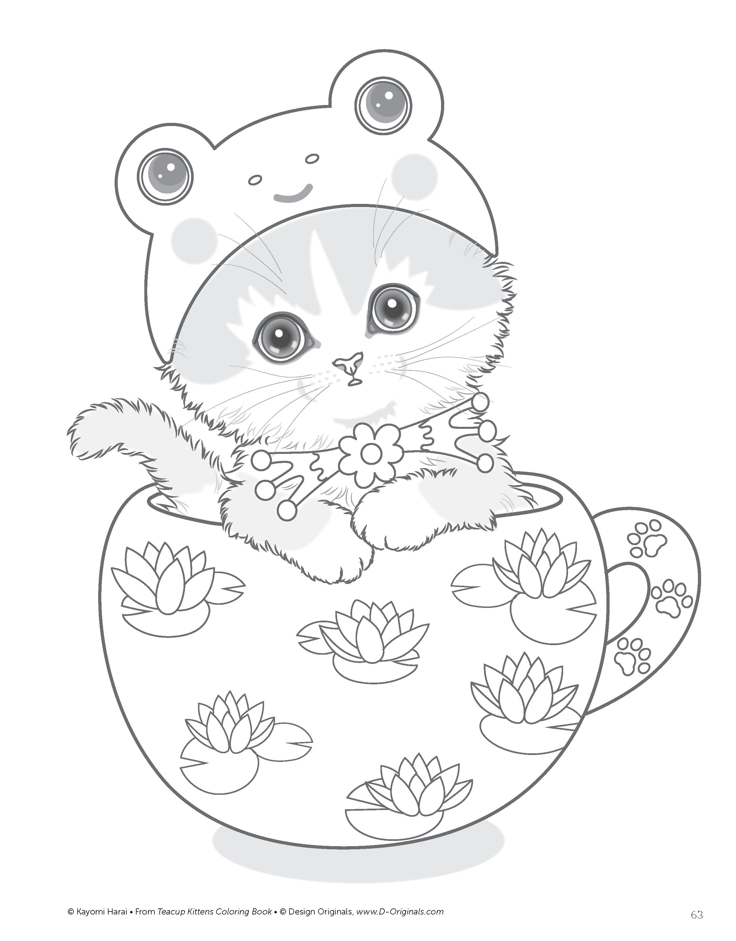Teacup Kittens Coloring Book Design Originals Kayomi