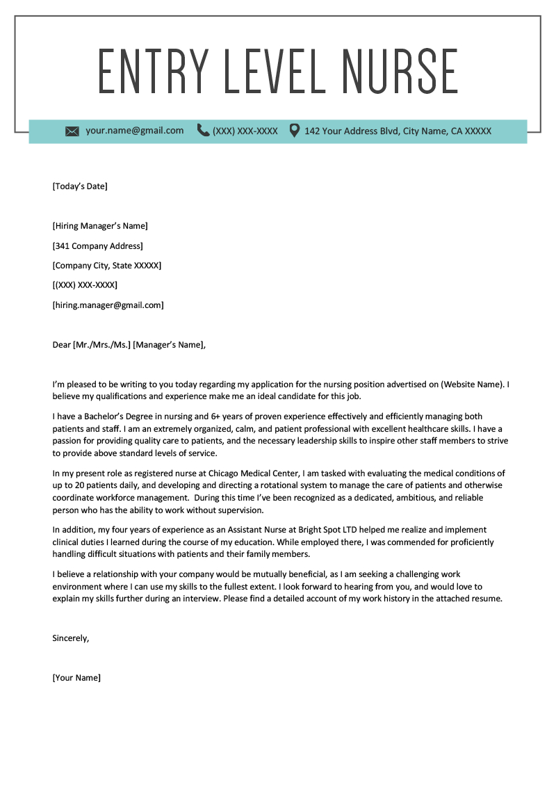 Entrylevel Nurse Cover Letter Sample Resume Genius Within Rn Cover