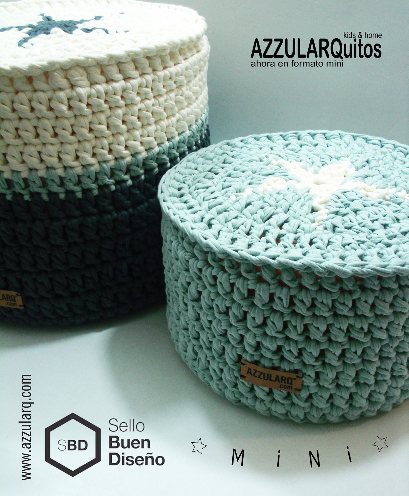 Te presentamos los nuevos MINI puff y pastilla, pensando en los mas chiquitos de la casa. http://www.azzularq.com/azzularquitos/