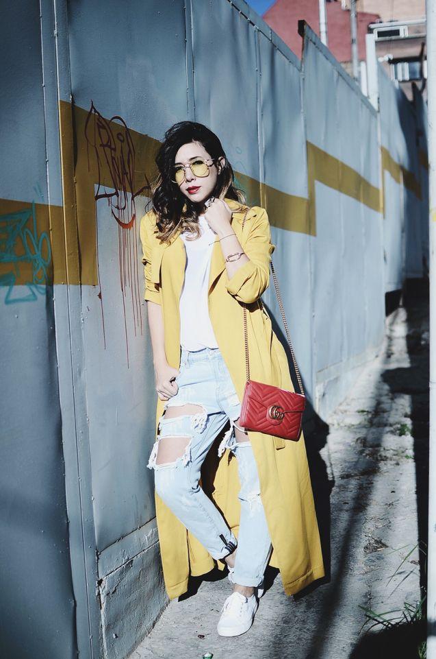 Yellow tinted lenses, yellow tinted coat