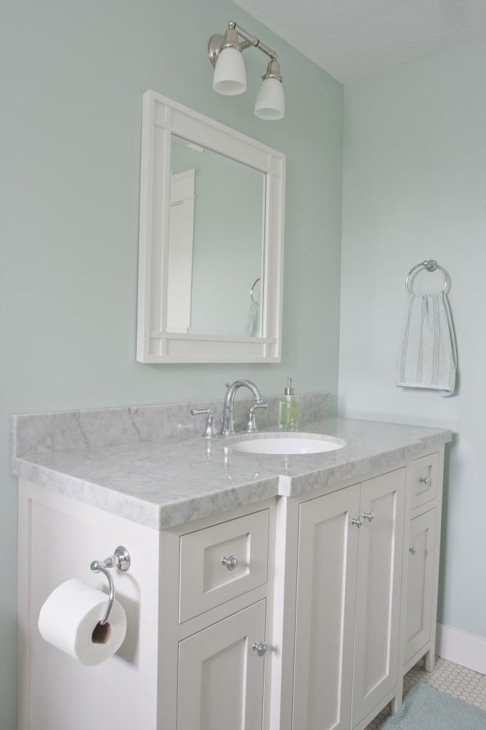 Palladium Blue Walls White Subway Tile Marble Counter Bathroom Wall Colors Bathroom Makeover Green Bathroom