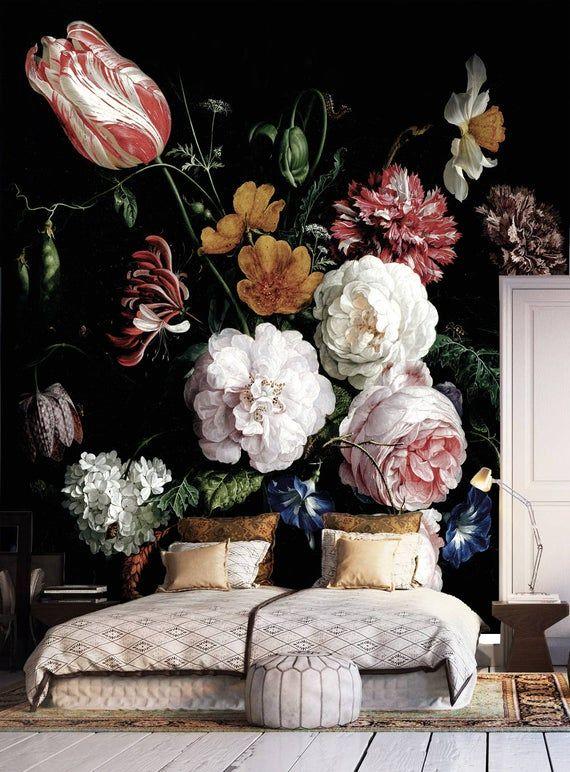 Dunkle Blumentafel und Stabtapete, holländische Blumen Ölgemälde, Wandgemälde, Stillleben-Blüten Wandkunst, Dunkle Blumen, Dunkle Wandmalerei