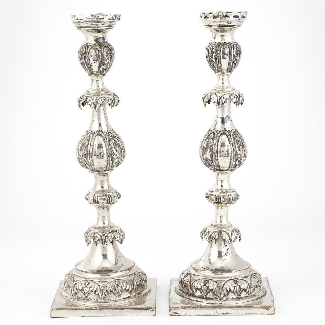 Pair of Polish/Russian Silver Candlesticks  Israel A. Goldman, circa 1880