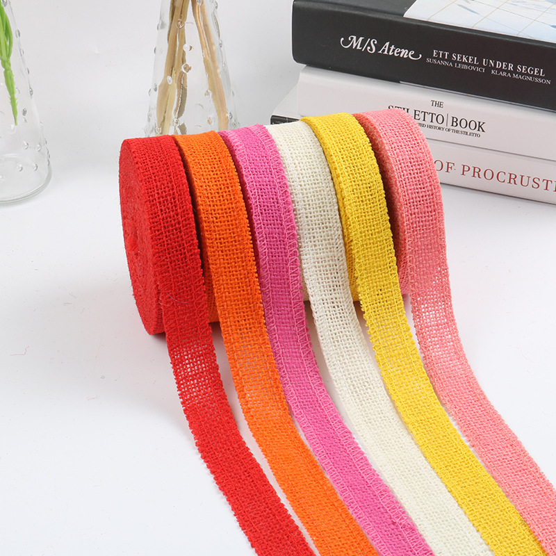 Ready Stock 10 Colors Available 2 5cm Colored Burlap Ribbon Wholesale Colored Burlap Burlap Ribbon Burlap