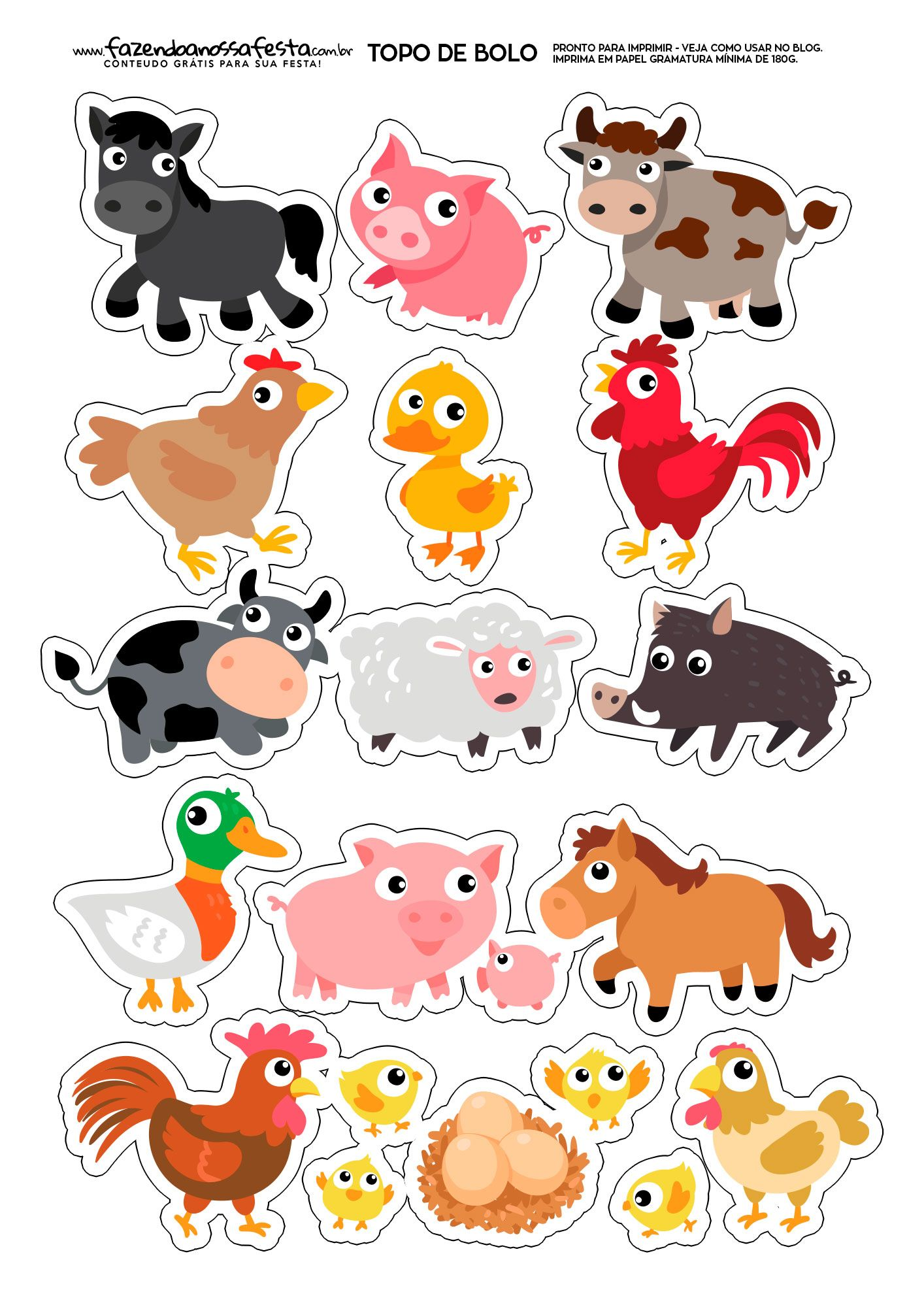 Topo De Bolo Fazendinha Animais Aniversario Da Fazenda