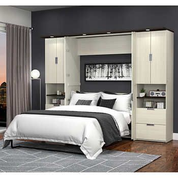 Boutique Full Wall Bed with Two Storage Units in White