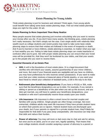 Estate Planning For Young Adults  Estate Planning