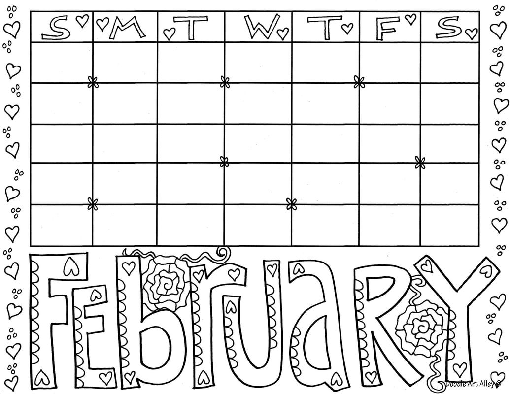 February Coloring Pages - DOODLE ART ALLEY in 2020 ...