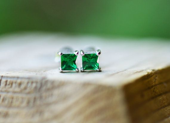 Tiny Emerald Square Cut Stud Earrings Sterling Silver by EmbersWay
