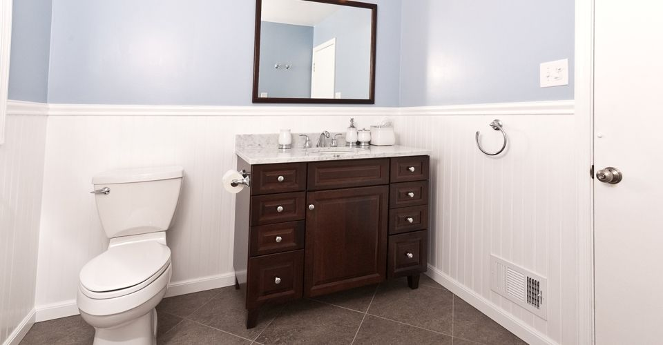 Raised Height Furniture Style Vanity With Matching Mirror Trim And