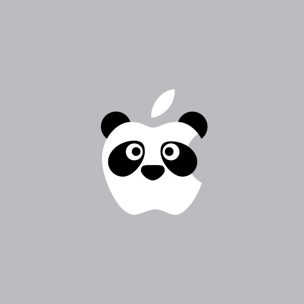 Panda Face Mac Apple Logo Cover Laptop Vinyl Decal