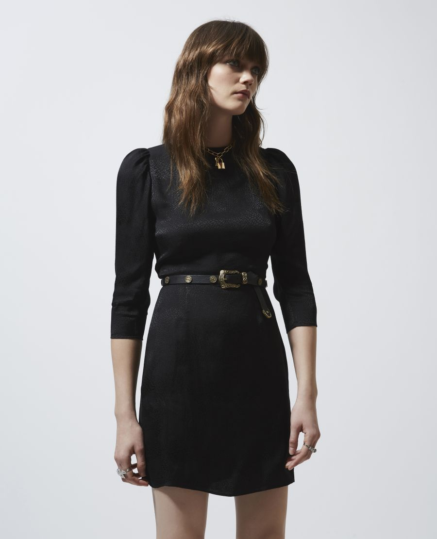 Short Light Black Dress With Shoulder Pads The Kooples Black Short Dress Black Dress Small Black Dress [ 1111 x 900 Pixel ]