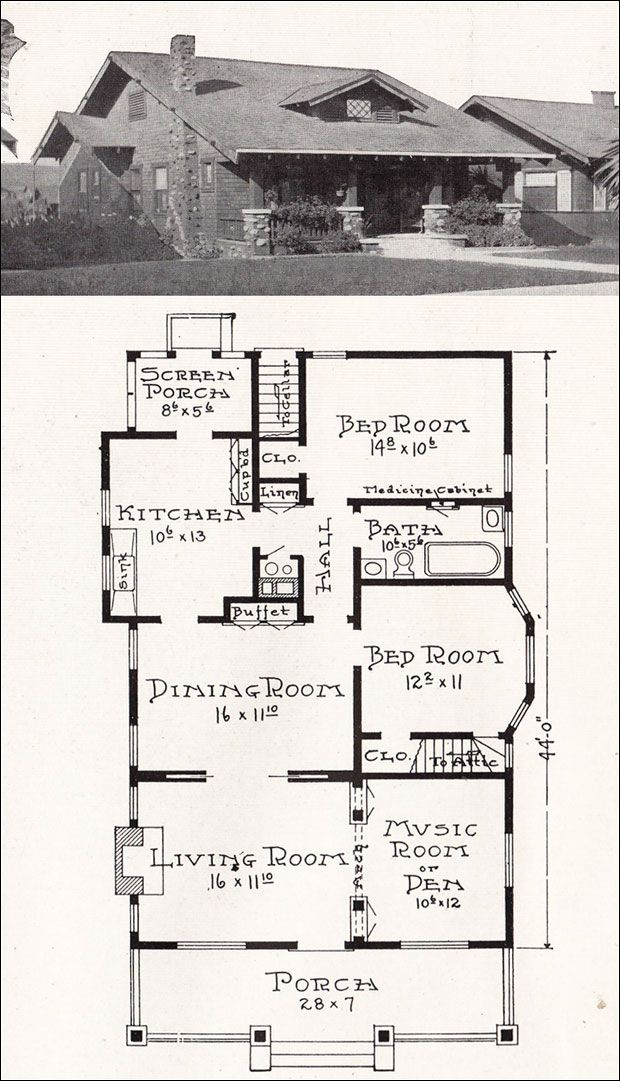 California Craftsman Bungalow House Plan 1918 Representative California Homes E Bungalow Floor Plans Craftsman House Plans Craftsman Bungalow House Plans