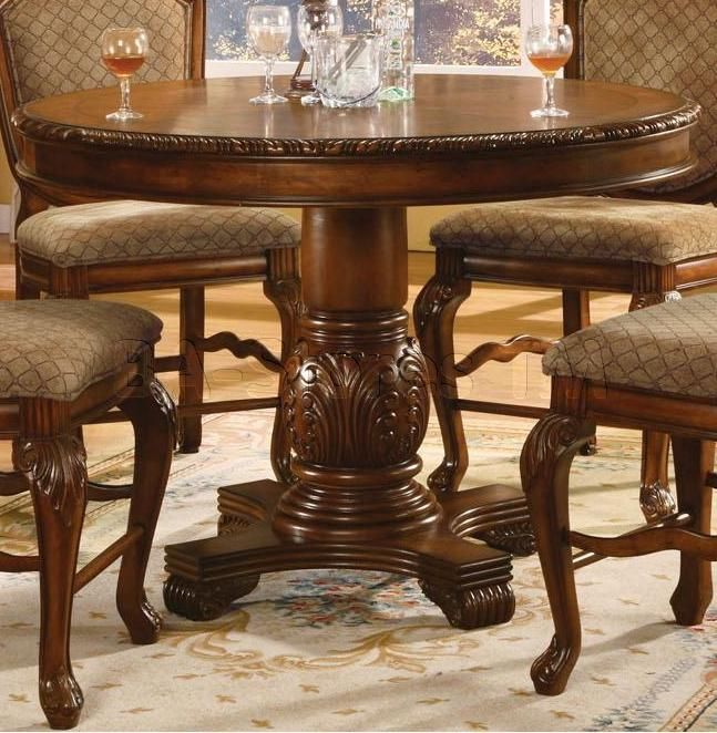 Acme Furniture Chateau De Ville Round Counter Height Pedestal Dining Table