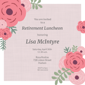 Coming Up Roses Printable Invitation Template Customize Add Text