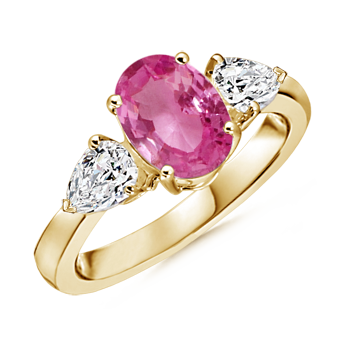Angara Cathedral Pink Tourmaline and Diamond Three Stone Ring in Yellow Gold