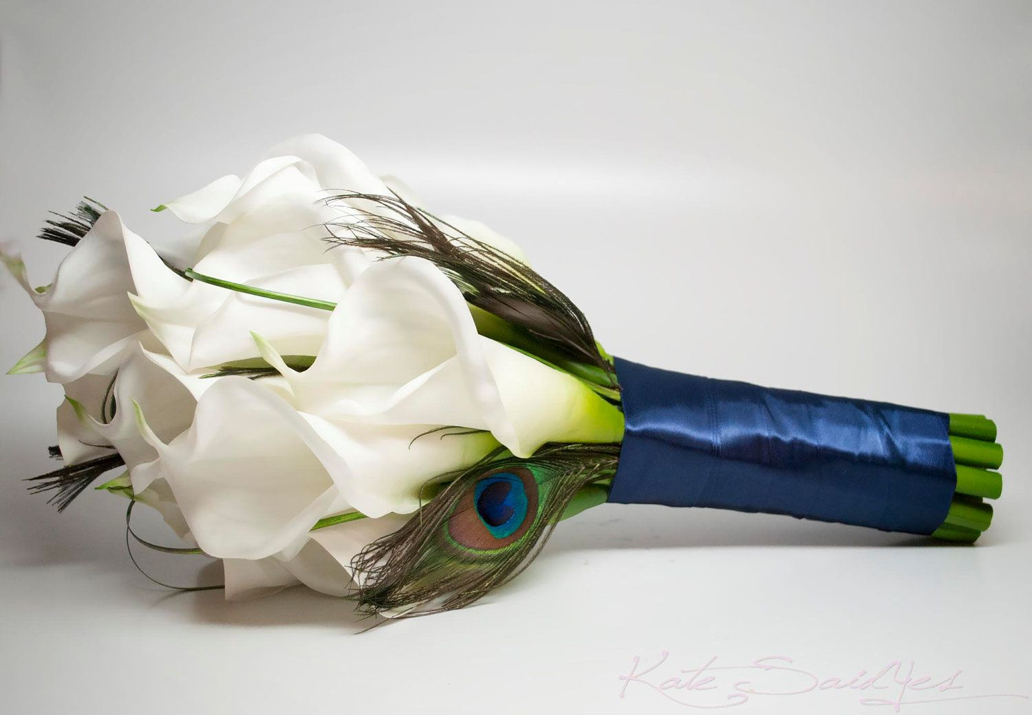 Peacock Bouquet With Large Ivory Calla Lilies Bridal Bouquet Real