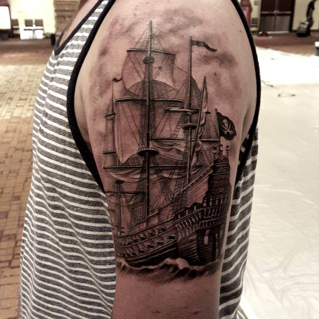 Pirate Ship Tattoo Design: Realistic Pirate Ship Tattoo On Shoulder