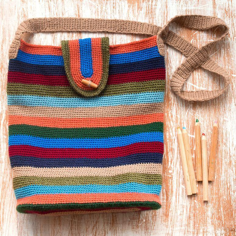 resultado final del bolso otoo de crochet tejido con lana caricia classic