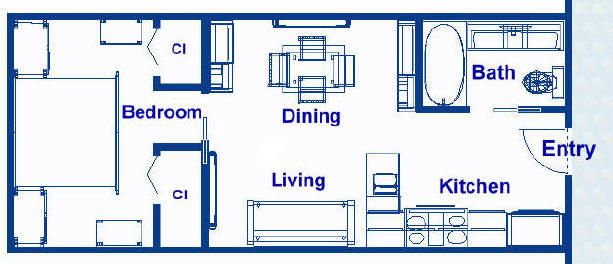 12 5x30 1 Bedroom Vacation Residence Jpg 613 264 Floor Plans Tiny House Floor Plans Outdoor Kitchen Design Layout