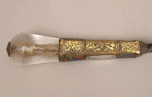 Knife, French or Spanish, 1300-1350.  Underside of the handle.  Rock crystal and enameled gilt metal, probably steel.