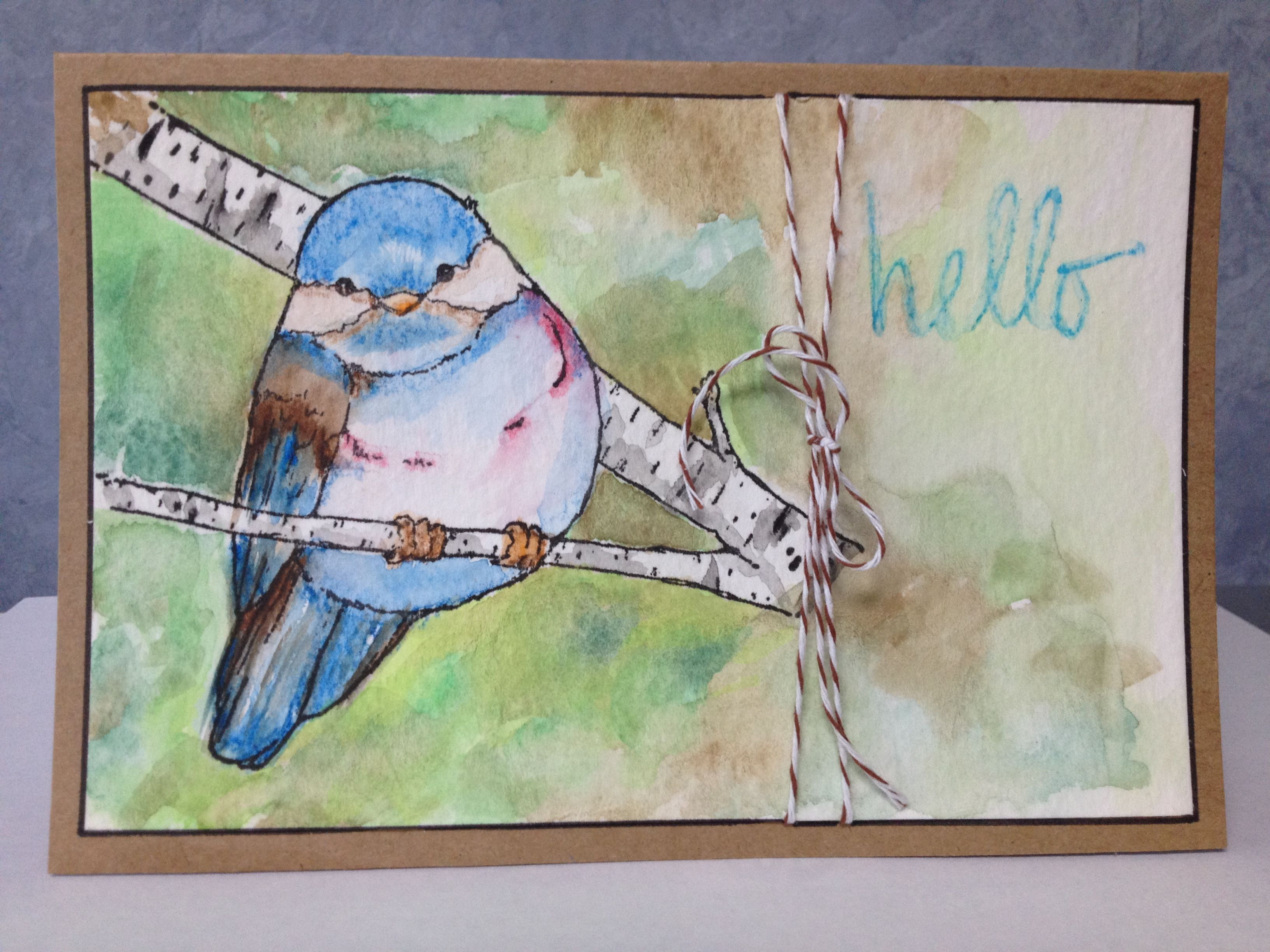 Watercolor painted card; Magenta bird stamp