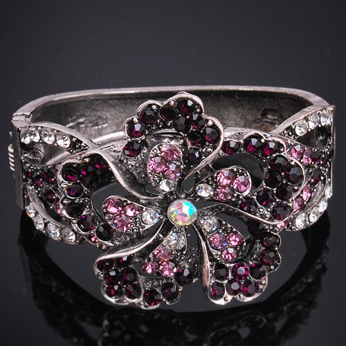 Pretty Crystal Purple Large flower Cuff Bracelet Brand New Very Unique And Fashionable