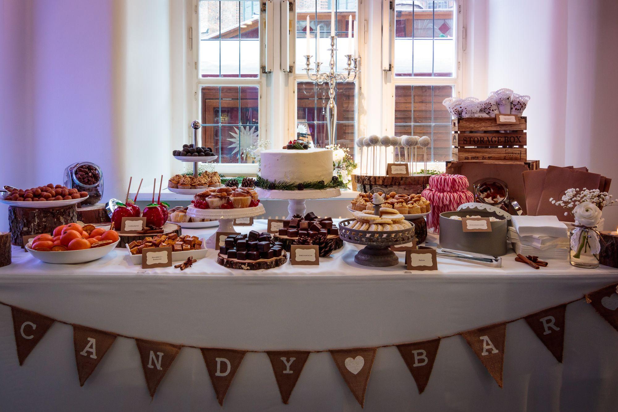 winter wedding candy bar, white cake pops, wedding cookies, winter wedding cake, cupcakes, mini-cupcakes, cinnamon rolls, sweet table