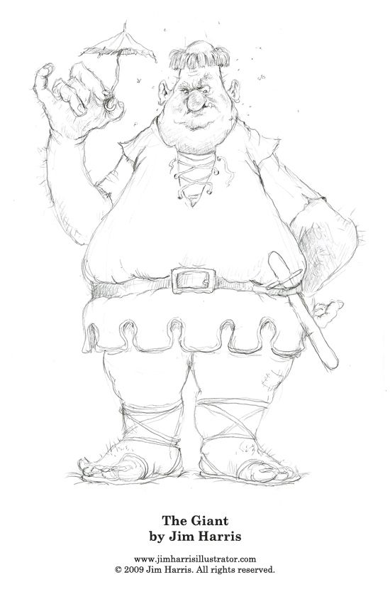 Fairytale Coloring Page of the Giant from Jack and the Beanstalk