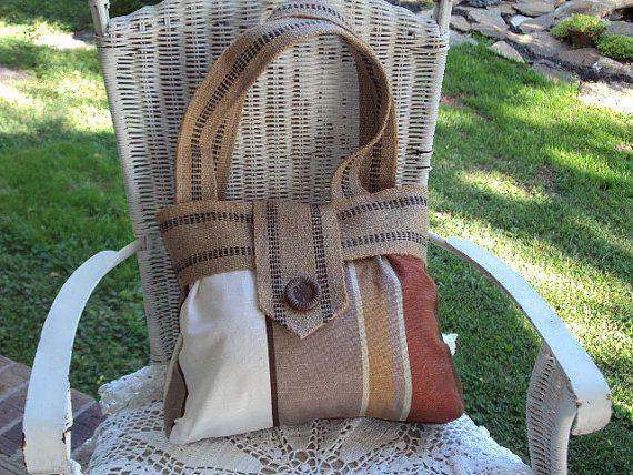 Robert Allen Fabric Handbag with Burlap Trim - Large Button - Hand Made Purse Tote Bag