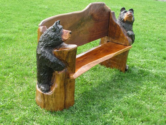 Items Similar To Chainsaw Carved Bench With Bear Ends Walnut Back U0026amp;  Hardwood On Etsy