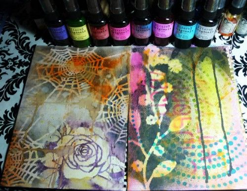 Mixed Media Journal Ideas and tutorial on ink background plus info on inks!