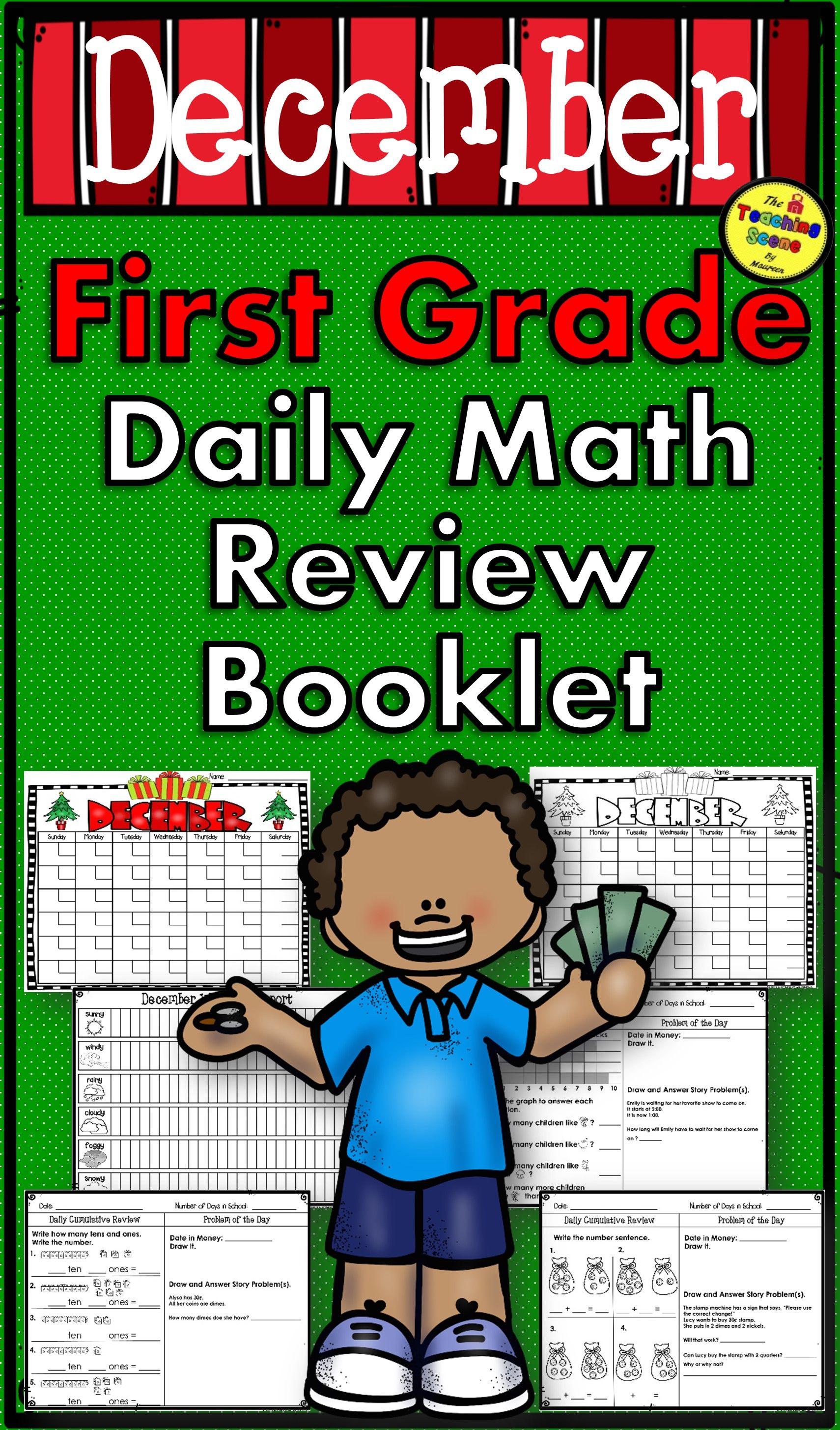 First Grade Daily Calendar Amp Math Review Booklet December